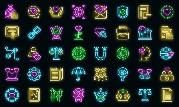 Vertrauensbeziehungssymbole gesetzt. umrisse von vertrauensbeziehungsvektorsymbolen neonfarbe auf schwarz