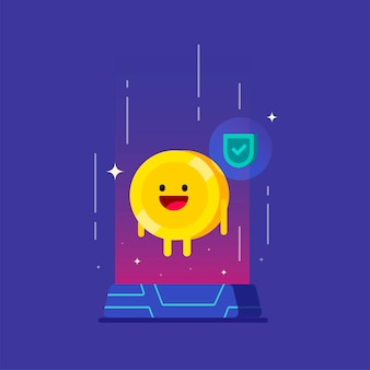 Vertrauenswürdige kryptowährung digitale technologie glücklich geld charakter