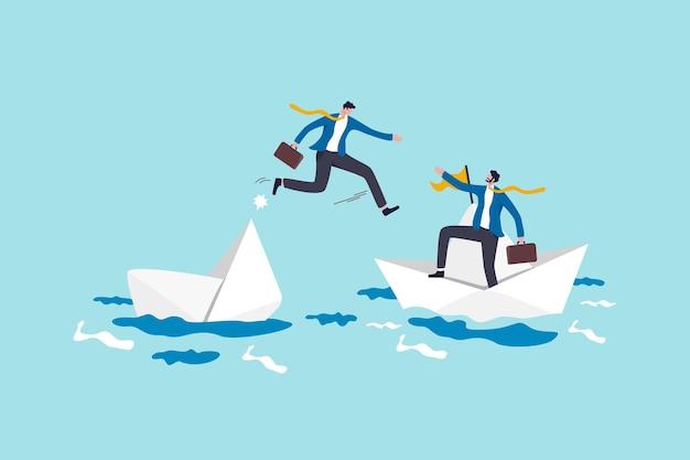Vertrauenswürdiger geschäftspartner, der in wirtschaftskrisen oder team- und partnerschaftslösungen hilft und unterstützt, um ein lösungskonzept anzubieten, mutiger geschäftsmann riskiert sein leben, um seinem partner zu helfen, das boot im ozean zu versenken.