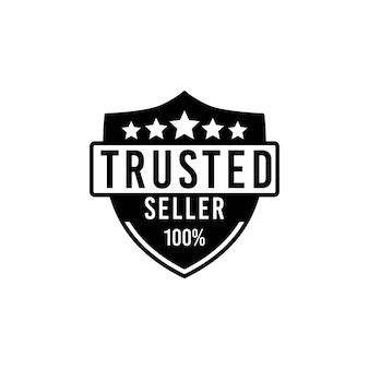 Vertrauenswürdiges verkäufer-stempel-logo-design