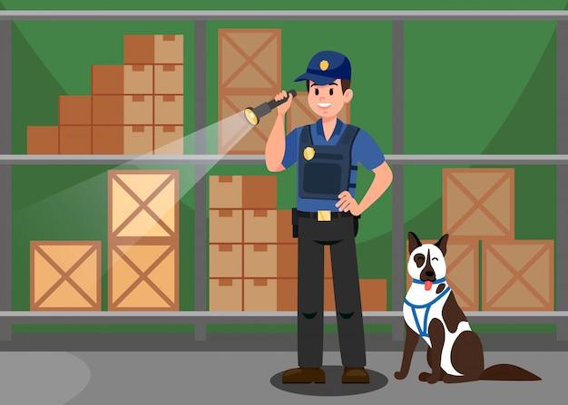 Vertreter und schäferhund flat vector illustration