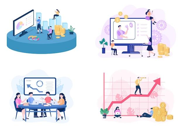 Vertriebsteam mit entwicklung des finanzgeschäfts von menschen, die arbeiten. analyse von unternehmensinformationen vektor-illustration
