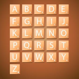 Vervollständigen sie alphabet-großbuchstaben in scrabble-buchstaben, um einen satz zu erstellen
