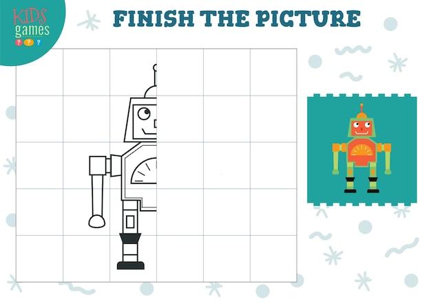 Vervollständigen sie die bildvektorillustration fertig- und ausmalspiel für vorschul- und schulkinder die hälfte des niedlichen humanoiden roboterumrisses zum zeichnen und für bildungsaktivitäten