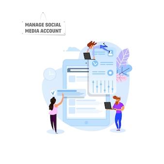 Verwalten sie ein social media-konto