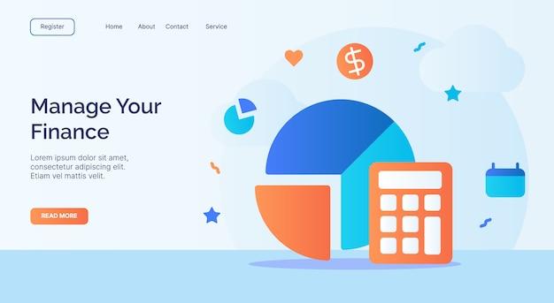 Verwalten sie ihre finanzrechner-kreisdiagramm-symbolkampagne für die startvorlage der homepage der website mit cartoon-stil.
