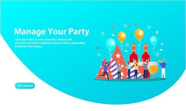 Verwalten sie ihre party-vektor-illustration