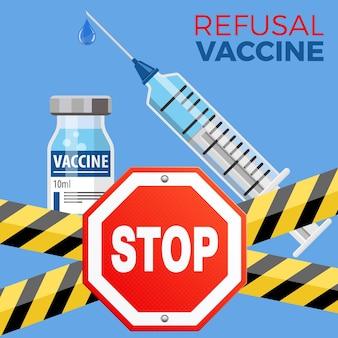 Verweigerungsimpfungskonzept mit schild-stopp-symbol aus kunststoff medizinische spritze und fläschchenimpfstoff im flachen stil, konzept-stopp-impfung, injektion. isolierte vektorillustration