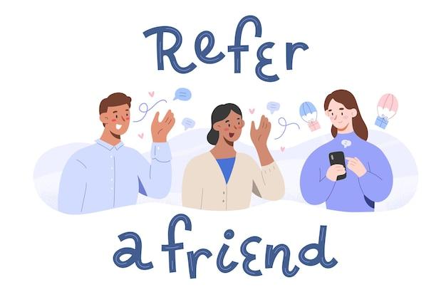 Verweisen sie auf ein freund-konzept. personen, die ihre partner-links teilen, erhalten belohnungen