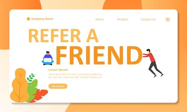 Verweisen sie einen freund, den concept design für eine landing-page verwenden kann