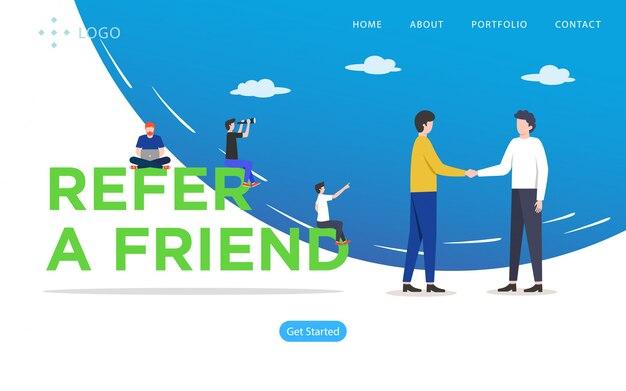 Verweisen sie einen freund, website-vektor-illustration