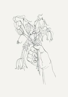 Verwelkte blumen in der hand, gefühlskonzept gegangen. handgezeichnete illustrationen