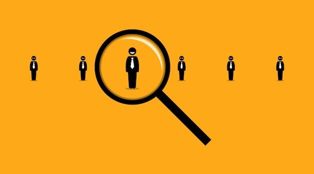 Verwenden einer lupe auf der suche nach dem richtigen mitarbeiter unter vielen anderen arbeitssuchenden.