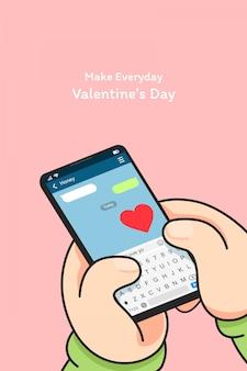 Verwenden sie die smartphone-nachricht, um zu sagen, dass ich sie liebe