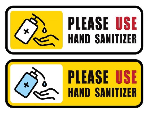 Verwenden sie händedesinfektionsmittel zeichenvektor abbildung, inhalt - bitte verwenden sie händedesinfektionsmittel, vorsichtsmaßnahme für die situation einer covid-19-pandemie
