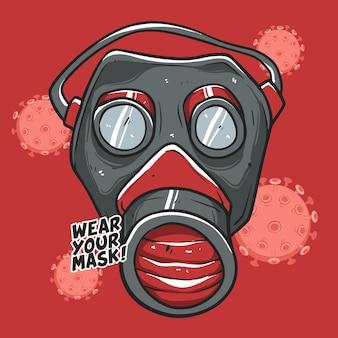 Verwenden sie ihre maske premium illustration