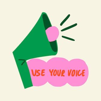 Verwenden sie ihren voice speaker sticker collage element vektor