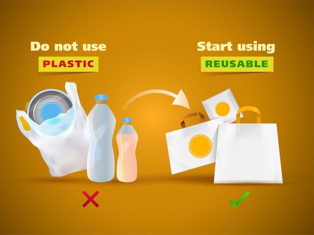 Verwenden sie keine kunststoffe wie polyethylen, flaschen und verwenden sie wiederverwendbare materialien