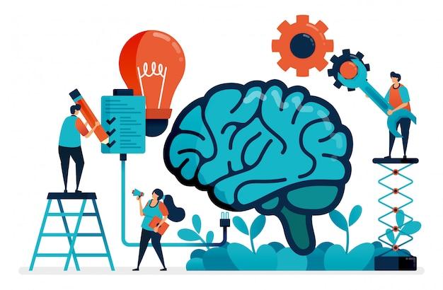 Verwenden sie künstliche intelligenz, um aufgaben zu erledigen. multitasking-system im künstlichen gehirn. ideen und inspiration bei der bewältigung von aufgaben. intelligenz bei der lösung von problemen.