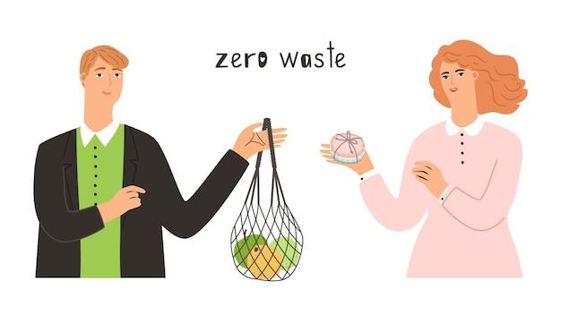 Verwenden sie zero-waste-ware. mann hält textiltasche, frau mit handgemachter seife. sicherheitsprodukte, öko-vektorkonzept