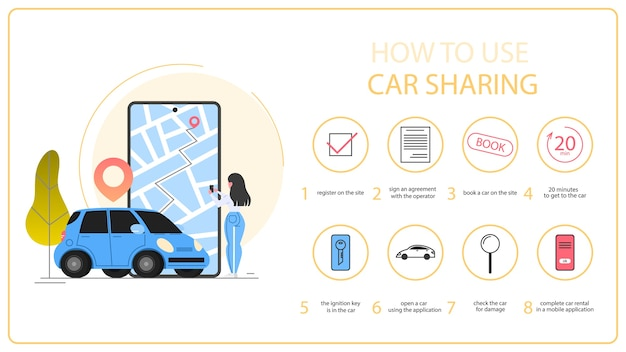 Verwendung der carsharing-anleitung. carsharing-servicekonzept. idee der fahrzeugfreigabe und des transports. mobile anwendung für die autovermietung. illustration