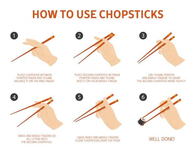 Verwendung der chinesischen oder japanischen essstäbchen anleitung.