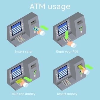 Verwendung von geldautomaten. zahlung über das terminal. geld von einer geldautomatenkarte bekommen.