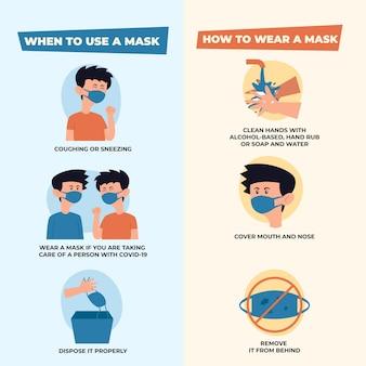 Verwendung von medizinischen masken und infografiken