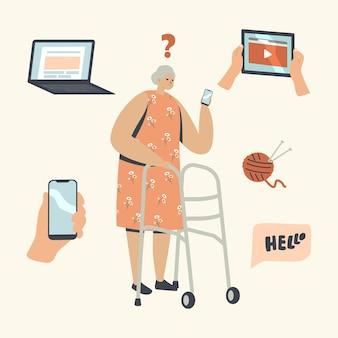 Verwirrte ältere frau hält smartphone und versucht, mit neuen technologien herauszufinden