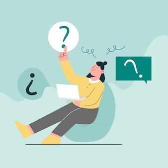 Verwirrte frau mit laptop- und markierungsfragekonzept