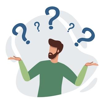 Verwirrte person, umgeben von fragezeichen, mann kennt den charakter nicht, versucht eine lösung zu finden