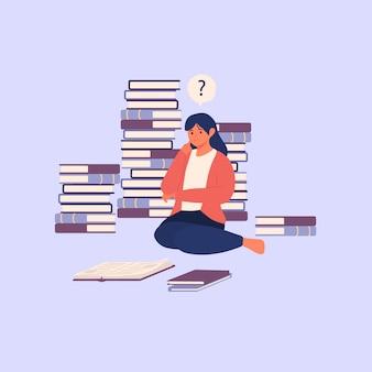 Verwirrte und unzufriedene mädchenfrau, die buch liest und fragen menschlichen charakterillustration hat