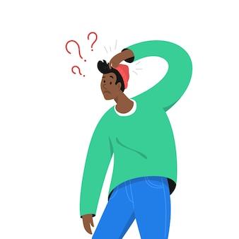 Verwirrter afrikanischer mann braucht eine antwort und hat einige zweifel. die vektorgrafik des jungen teenagers benötigt professionelle hilfe, unterstützung oder weitere informationen. isoliertes modernes design auf weißem hintergrund