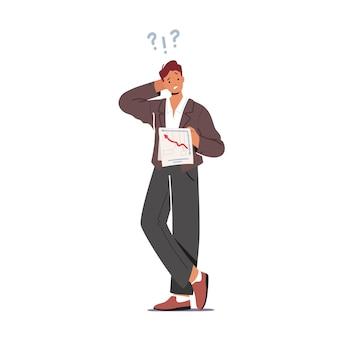 Verwirrter mann kratzt am hinterkopf und versucht, es mit dem geschäftsdokument herauszufinden