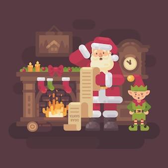 Verwirrter weihnachtsmann und elf
