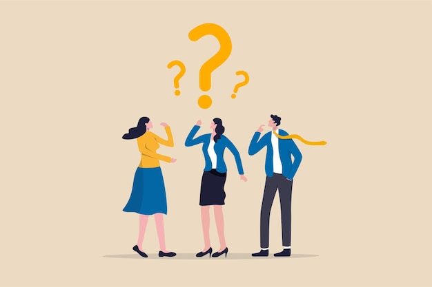 Verwirrtes geschäftsteam findet antwort oder lösung, um das problemkonzept zu lösen