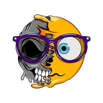 Verwirrung ausdruck mit brille ändert sich zu normalen lachbrillen tod schädel emoticon