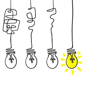 Verwirrung klarheit oder pfadvektorideenkonzept. vereinfachung des komplexes. doodle-vektor-illustration.
