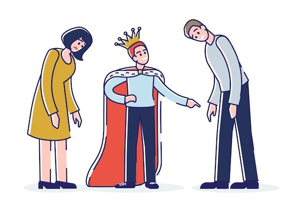 Verwöhntes kind mit müden eltern. egoistischer sohn mit krone, der mutter und vater anschreit. zeichentrickfiguren der familie