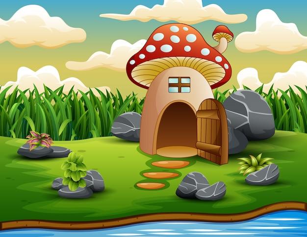 Verzaubertes pilzhaus in der natur