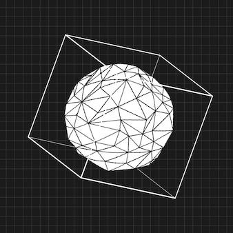 Verzerrtes 3d-ikosaeder in einem würfel auf einem schwarzen hintergrundvektor