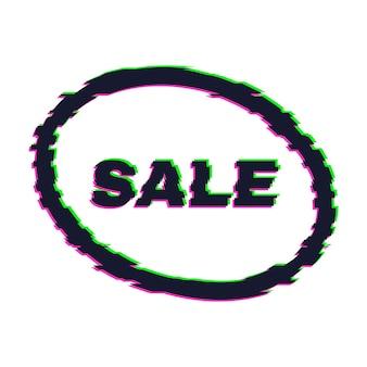 Verzerrtes glitch-sale-banner mit fehlereffekt an den rändern und im text. vektor-illustration.