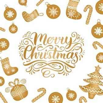 Verzierte frohe weihnachten schriftzug mit festlichen neujahrselementen. frohe feiertage typografie für grußkartenvorlage oder plakatkonzept.