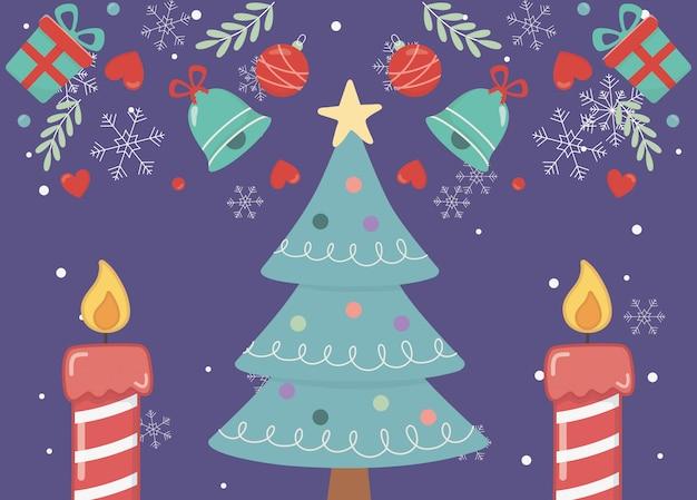 Verzierte karte der frohen weihnachten der baumsternkerzen