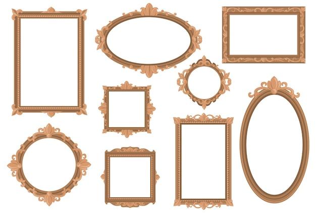 Verzierte leere goldene ränder flaches set für webdesign.