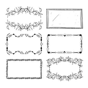 Verzierte rahmendekoration handgezeichnete kopienraum-sammlung