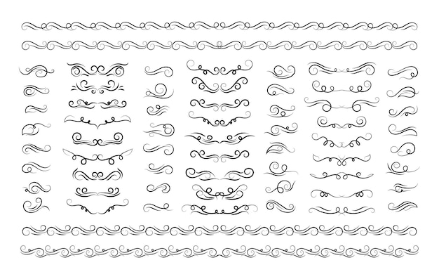 Verzierte rahmenelemente vintage set dekoration ornament rahmen scroll wirbelt vektor