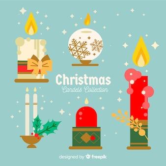 Verzierte weihnachtskerzensammlung