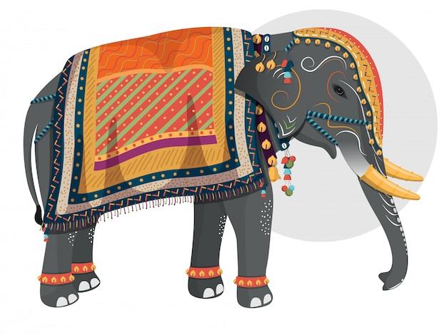 Verzierter charakter des elefanten