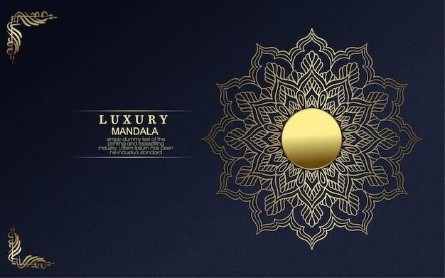 Verzierter hintergrund des goldenen goldmandalas des luxus.